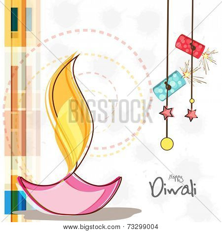 Illuminated oil lit lamp with hanging stars and crackers for Diwali celebration on grungy background.