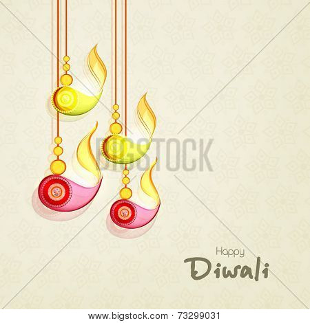 Stylish hanging illuminated oil lit lamps and text of Diwali for Diwali celebration on seamless beige background.