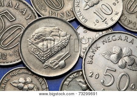 Coins of Malaysia. Malaysian sirih and kapur container depicted in the Malaysian twenty sen coin.