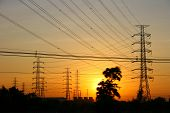 pic of transmission lines  - Power Transmission Line tower on sunset time - JPG