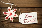 picture of natal  - Buon Natale which is Italian and means Merry Christmas on a Label with a red white Christmas Star Cookie - JPG