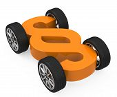 stock photo of four-wheel drive  - a 3d generated paragraph sign with four wheels - JPG