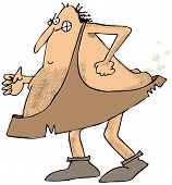 image of fart  - This illustration depicts a caveman forcing out a stinky fart - JPG