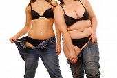 stock photo of skinny  - Two women - JPG