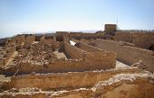 stock photo of zealots  - Ruins of warehouse in Masada fortress Israel - JPG