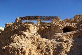 foto of zealots  - Ruins of ancient judaic Masada fortress Israel - JPG