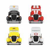 pic of ambulance car  - Set Retro Car Icon Police With Flashing Lights - JPG