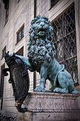 stock photo of munich residence  - Stone statue of lion  - JPG