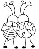 stock photo of valentine card  - Illustration or Clip art of Two Bugs hugging - JPG