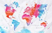 stock photo of blue  - Watercolor world map in vector format in pink and blue colors on a background of crumpled paper - JPG