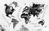 picture of compasses  - Ink world map in vector format black and white graphics in vintage style - JPG
