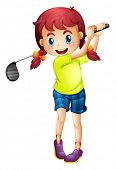 foto of ladies golf  - Illustration of a cute little girl playing golf on a white background - JPG