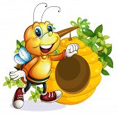 stock photo of beehive  - Illustration of a bee near the beehive on a white background - JPG