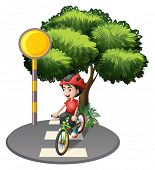 foto of post-teen  - Illustration of a street with a boy biking on a white background - JPG