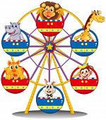 foto of carnival ride  - Illustration of a carnival ride with animals on a white background - JPG