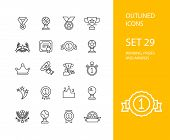 pic of prize  - Outline icons thin flat design - JPG