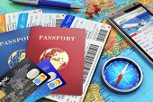 stock photo of compasses  - Air tickets or boarding pass - JPG