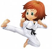 stock photo of karate-do  - Illustration of a brave young lady doing karate on a white background - JPG