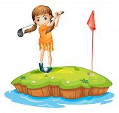 picture of ladies golf  - Illustration of a young woman playing golf on a white background - JPG