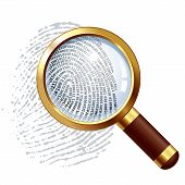 stock photo of fingerprint  - Fingerprint and magnifying glass - JPG