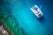 pic of drone  - Amazing view to Yacht sailing in open sea at windy day - JPG