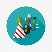 stock photo of birthday hat  - Birthday Party Hat Flat Icon With Long Shadow - JPG
