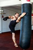 pic of kickboxing  - Kickboxer training in the gym kicking the punch bag - JPG