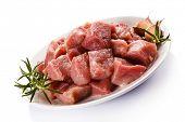 foto of turkey-hen  - Raw turkey meat on white background - JPG
