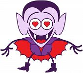 image of enthusiastic  - Funny vampire in minimalist style with pointy ears - JPG