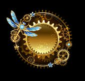 image of outdated  - round banner with a mechanical dragonfly and gears on a black background - JPG