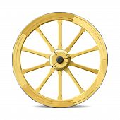 foto of wagon wheel  - Vector illustration of wooden wagon wheel - JPG