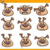 foto of emoticons  - Cartoon Illustration of Funny Dogs Expressing Emotions or Emoticons Set - JPG