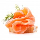 picture of canapes  - sandwich or canape with salmon on white background  cutout - JPG