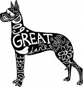 picture of great dane  - Hand drawn illustration of a great dane dog silhouette with doodle text and shapes added to it - JPG