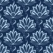 pic of indian blue  - Blue floral seamless pattern in paisley indian or persian style - JPG