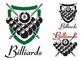 Постер, плакат: Billiards and snooker retro emblems set