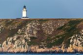 stock photo of stiff  - The Stiff lighthouse on the cliff top in ushant island - JPG