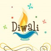 stock photo of diwali  - Stylish text of Diwali with illuminated oil lit lamp for Diwali celebration on floral decorated beige background - JPG