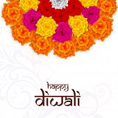 pic of rangoli  - Diwali celebration with half colorful flowers rangoli with stylish text of Diwali on floral decorated background - JPG