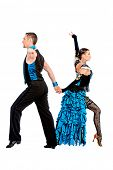 foto of tango  - Beautiful professional dancers perform tango dance with passion and expression - JPG