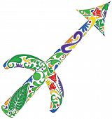 picture of sagittarius  - Sagittarius zodiac sign made of colorful floral elements - JPG