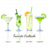 pic of collins  - Favorite Cocktails Set isolated - JPG