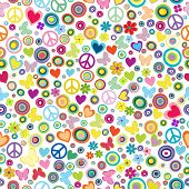 pic of peace-sign  - Flower power background seamless pattern with flowers peace signs circles and butterflies - JPG