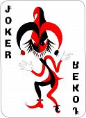 stock photo of joker  - Joker game card with the image of the red and white joker vector - JPG
