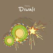 stock photo of diwali  - Stylish text of Diwali with exploding crackers for Diwali celebration on brown background - JPG