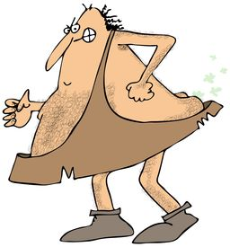 picture of fart  - This illustration depicts a caveman forcing out a stinky fart - JPG