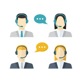 pic of avatar  - Icons set Male and female call center avatars in a flat style with a headsetcolor speech bubbles conceptual of communication client services telemarketingbusiness - JPG