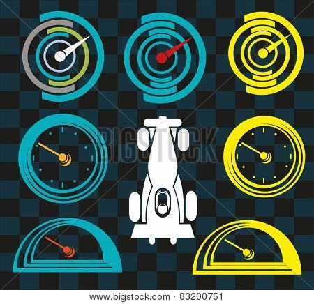 Sports Car Gauge and Clock