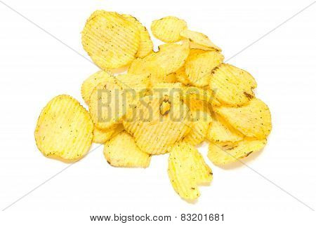 Tasty Corrugated Potato Chips Closeup