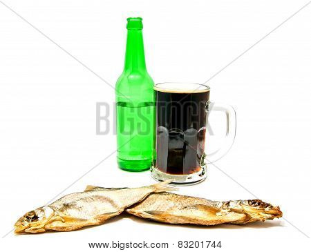 Dark Beer And Salted Fishes On White